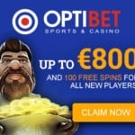 Optibet Casino 110 free spins and €800 free bonus