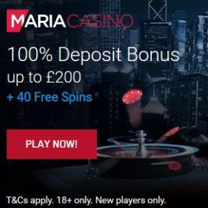 Maria Casino   40 free spins + 100% bonus + €200 gratis   review