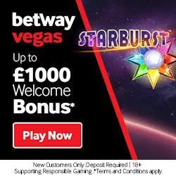 Betway Casino   £1000 bonus and 100 free spins on vegas games