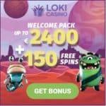 Loki Casino €2400 or 5 BTC free bonus and 150 free spins