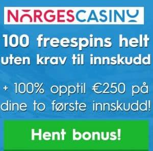 Norges Casino 100 free spins og €250 gratis bonus - Norway