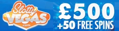 Slotty Vegas Casino 25 gratis spins  plus 50 free spins and €500 welcome bonus