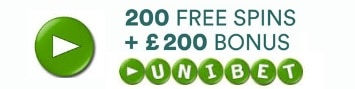 Unibet Casino 200 free spins and 200% up to €200 welcome bonus