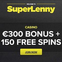SuperLenny Casino 150 free spins & €300 gratis - no wagering bonus