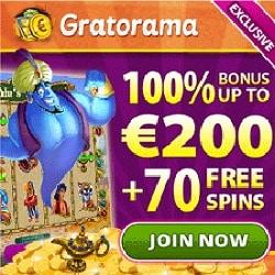 Gratorama.com - £/€/$7 gratis or 70 free spins - no deposit bonus