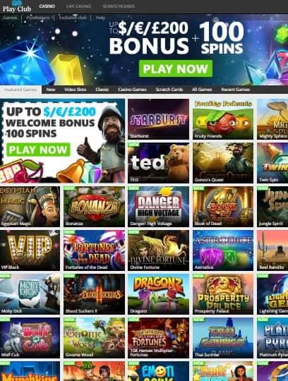 Play Club Casino free spins bonus
