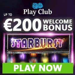 Play Club Casino Review | 100% up to €200 bonus   100 free spins gratis