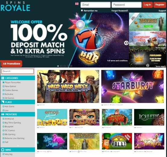 Spins Royale Casino free spins offer