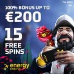 EnergyCasino 15 FS no deposit   €400 free bonus   55 free spins