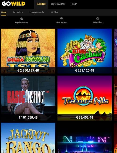 GoWild Casino Online free spins bonus