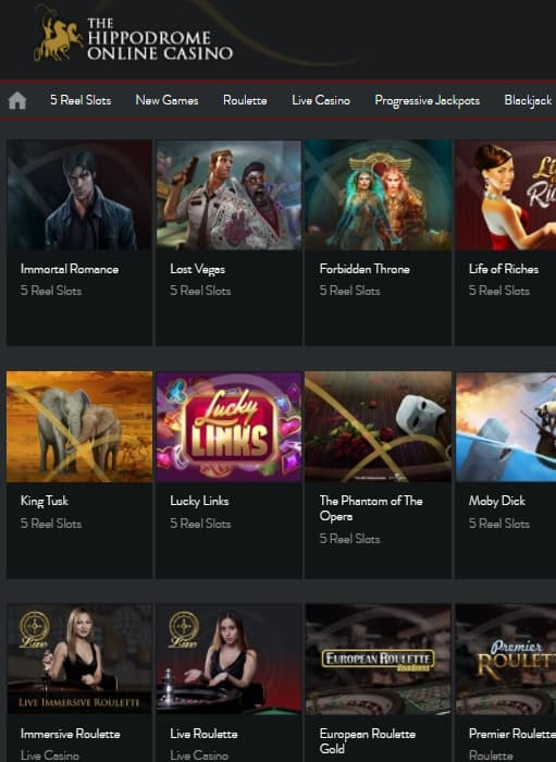 Hippodrome Online Casino Review - free spins, no deposit bonus, free games