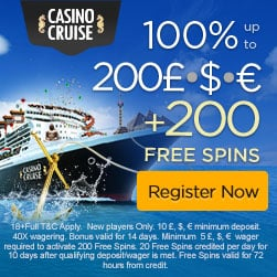 Casino Cruise | 200% up to €1000   200 free spins | No deposit bonus!
