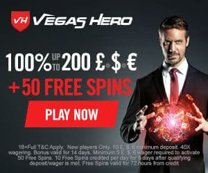 Vegas Hero Casino $/€/£1000 bonus   50 free spins | Review