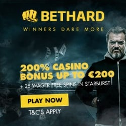 Bethard Casino 10 no deposit spins plus 50 free spins and €750 welcome bonus
