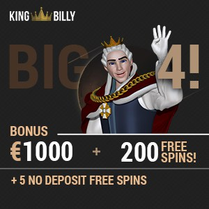 King Billy Casino™ 200 free spins & €1000 free bonus - no deposit!