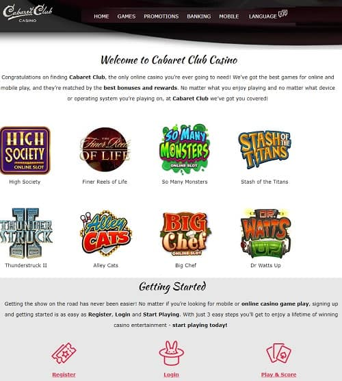 Cabaret Club Casino free spins bonus and free play games