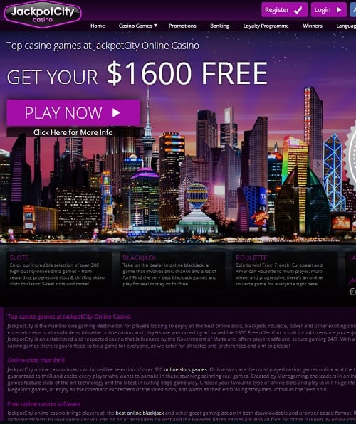 JackpotCity Casino $1600 bonus and extra free spins