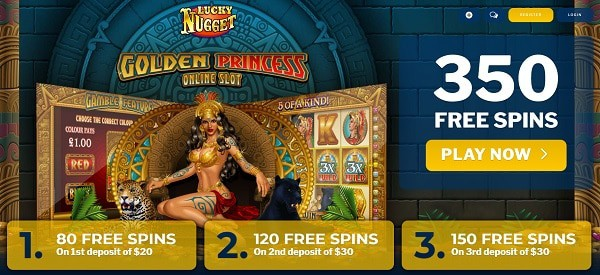 Get up to 350 free spins when you sign up!