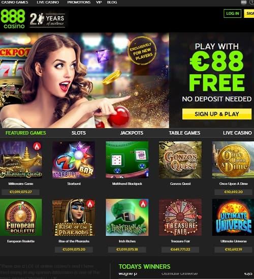 888 Casino free spins bonus