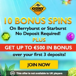 Gday Casino | 60 free spins no deposit required + €500 free bonus