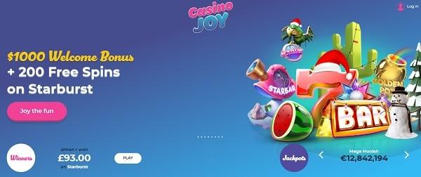 Casino Joy 200 free spins and $1000 welcome bonus