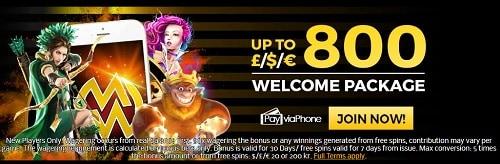 MobileWins welcome bonus and free spins
