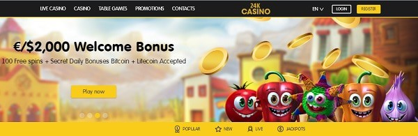 $/€2000 free bonus and 100 free spins to 24kCasino.com
