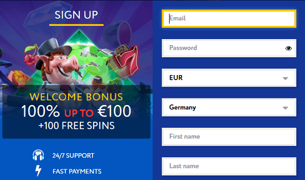 Register for free and get free spins!