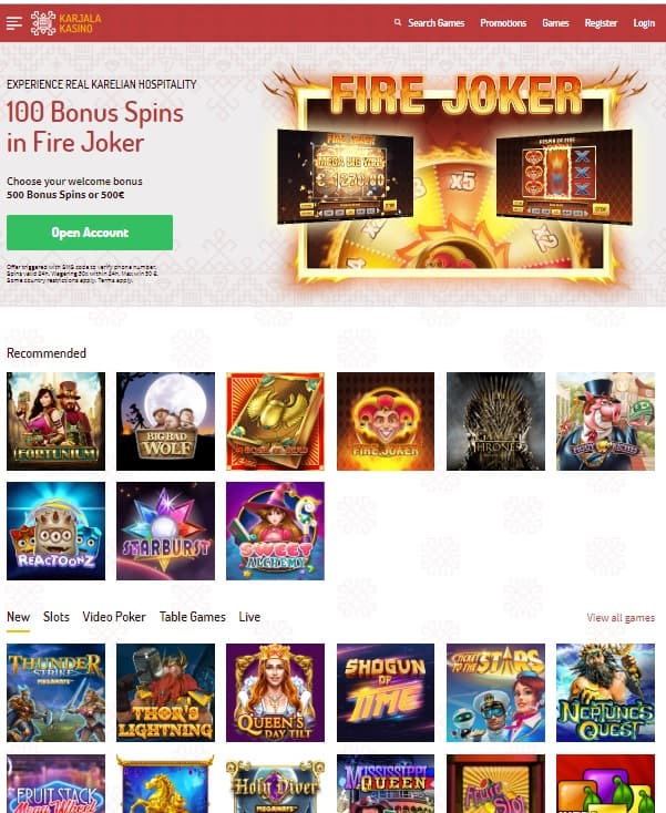 Karjala Kasino 500 free spins
