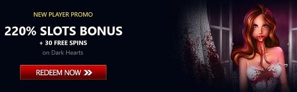 220% bonus on slots
