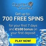 How to claim 700 free spins welcome bonus at Quatro Casino?