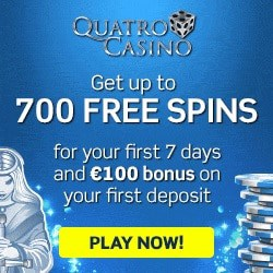 How to claim 700 free spins bonus at Quatro Casino?