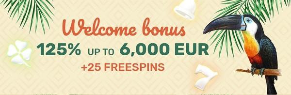 125% bonus and 25 free spins