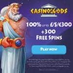 Casino Gods 300 gratis spins and 100% free bonus