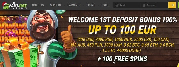 100 free spins on first deposit