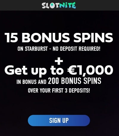 SlotNite 15 free spins