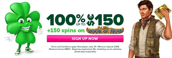 100% or 125% welcome bonus and 150 free spins on Play'N Go Slots