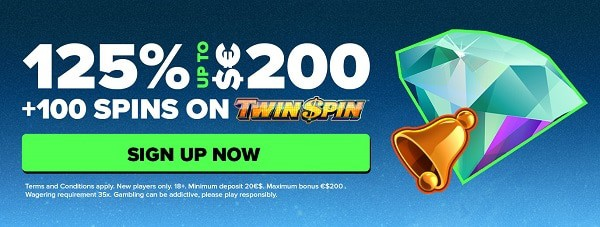 Register here and get 125% match bonus plus 100 free spins on Twin Spin (NetEnt)