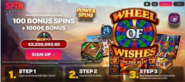 Register to play 100 no deposit free spins on Wheel of Whishes