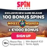 Spin Casino 100 no deposit free spins on Wheel of Wishes