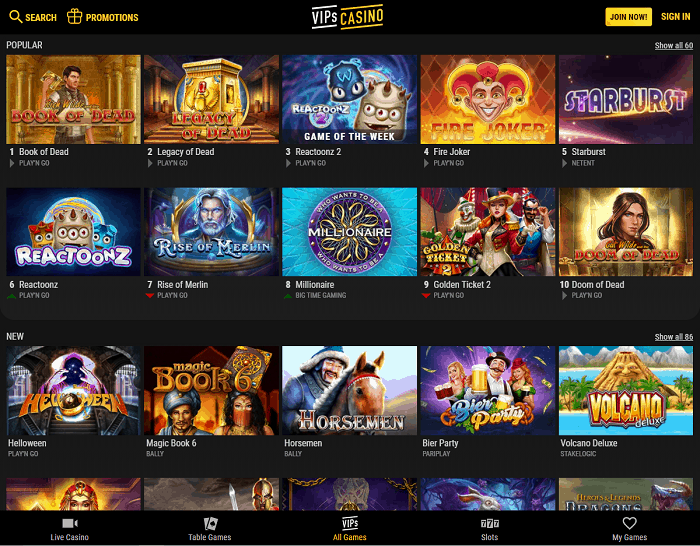 VIPS Casino Free Spins and Cashback Bonus