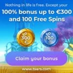 Tsars Casino Welcome Bonus: €2000 gratis + 200 free spins